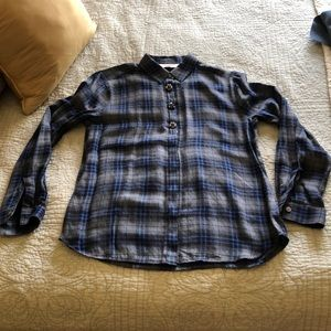 Button down plaid blouse with decorative buttons